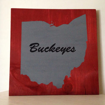 Customizable Ohio Wood Sign, Stained and Hand Painted, Personalized, moving gift, wedding gift, birthday, graduation, home decor