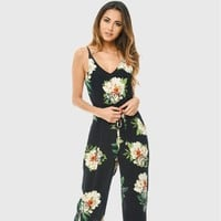Casual Pants Plus Size V-neck Stylish Print Shaped Fine Strap Jumpsuit [10467575828]