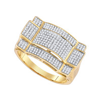 Diamond Micro Pave Mens Ring in 10k Gold 0.52 ctw