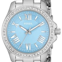 Fossil Women's AM4607 Cecile Small Three-Hand Stainless Steel Watch - Silver-Tone with Blue Dial