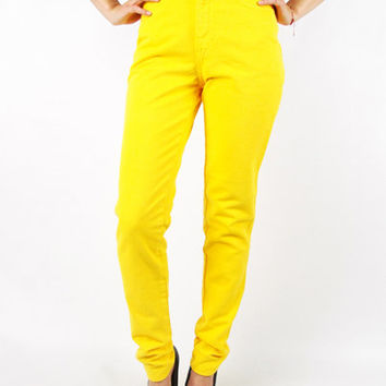 80s High Waist Skinny Jeans 80s Skinny High Waist Jeans Bright Yellow Jeans Yellow Pants 80s Jeans 90s Jeans 90s Grunge XS Extra Small