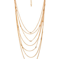 FOREVER 21 Layered Rhinestone Necklace Gold/Clear One