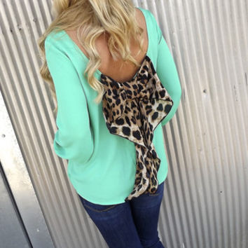 Classic Leopard Bow Blouse - GREEN   The Rage
