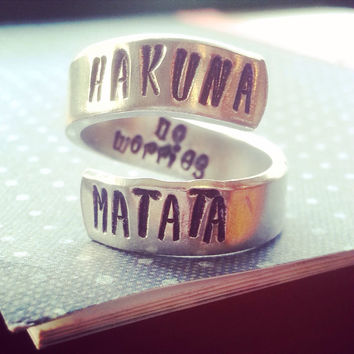 Hakuna Matata means no worries the original spiral ring available in copper, aluminum, sterling silver, brass or aluminum