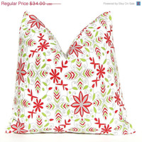 SALE Christmas Pillows Holiday Pillows Accent Pillows 16 x 16 Holiday Decor Nala Floral in Red and Green on White