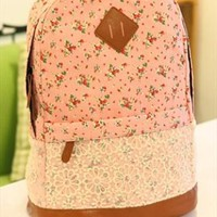 Flora Print Backpack with Lace Pink JFD954 from topsales
