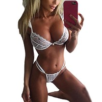 Women Sexy Lingerie Bandage Lace Underwear Babydoll Sleepwear G-string Bra Set Female Bra & Brief Sets