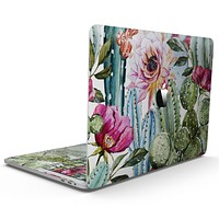 Vintage Watercolor Cactus Bloom - MacBook Pro with Touch Bar Skin Kit