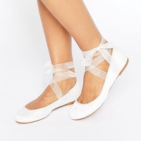 ASOS LYDIA Bridal Ribbon Ballet Flats at asos.com