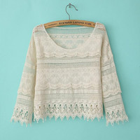 Lace Embroidered Edge Crochet Long Sleeve Shirt