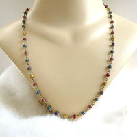 Wire Wrapped Multi-Color Small Beads Necklace Vintage