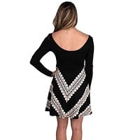 Long Sleeve Ponte Dress in Black with Circular Skirt and Crochet Detail by Judith March