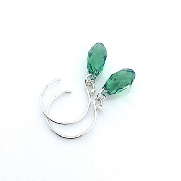 Green Hoop Earrings, Green Glass, Crystal Drop Earring, Sterling Silver Hoop, Swarovski Hoop, Everyday Jewelry