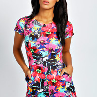 Violet Bright Abstract Print Capped Sleeve Playsuit