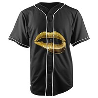 Gold Lips Black Button Up Baseball Jersey