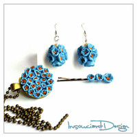 Blue Flower Jewelry Set, Polymer Clay Jewelry, Miniature Flowers, December Gift, Stocking Stuffer, Dangle Earrings, Gift Set For Wife