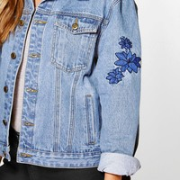 Plus Lily Embroidered Denim Jacket