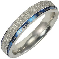 """Stainless Steel Blue and Silver-Tone """"You are always in my heart"""" 4mm Band Ring - Women"""