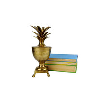 Vintage Brass Pineapple Urn Candle Holder Lid Centerpiece Container Pedestal Paw Foot Gold Hollywood Regency Decor Box