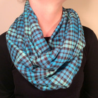 Handmade Infinity Scarf Plaid Flannel -  Super Warm, Double  Layer Circle -  Blue, Teal, Black, Christmas Present, Holiday Gift