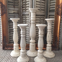 Shabby Chic White Candle Holders, Set of 5 Wood Distressed Ivory Chalk Paint Wedding table Center Piece, Mantle Decor Large Candle Sticks