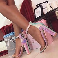 Sweet Transparent Sandals Women Zipper Cover Heel Square High Heels Shoe Shallow Party Office
