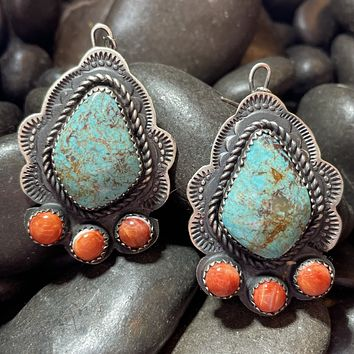 Genuine Turquoise, Orange Spiny, and Sterling Silver Earrings