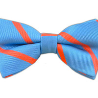 Trad Stripe - Mystic Blue/Coral (Bow Ties) from TheTieBar.com - Wear Your Good Tie Everyday