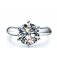 A Perfect 3.9CT Round Cut Solitaire Russian Lab Diamond Ring