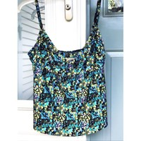 TANKINI TOP 24th & OCEAN WOMENS LARGE SWIM SUIT BEACH SUMMER TANK BLUE GREEN
