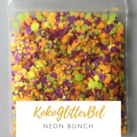 Neon Matte Glitter Mix Dots - Bunch