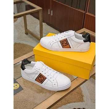 Fendi Men's Leather Fashion Low Top Sneakers Shoes