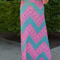 Chevron Printed Maxi Skirt - Fuchsia/Mint - FINAL SALE
