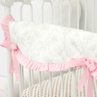 Lovely Damask Baby Bedding | Vintage Gray and Pink Crib Rail Cover