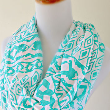 Mint Aztec infinity Scarf,  soft knit tribal scarves
