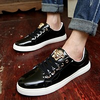 Black VERSACE Embroidered Canvas Shoes
