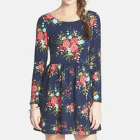 Junior Women's One Clothing Textured Floral Print Skater Dress