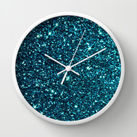 midnight blue sparkle Wall Clock by ingz