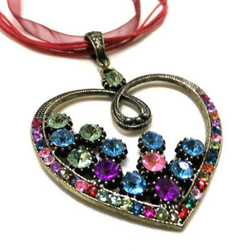 Large Bronze Heart Necklace with Rhinestones, Colourful Rhinestone Heart Necklace, Bronze Necklace, Love Necklace, Hippie Necklace, Boho
