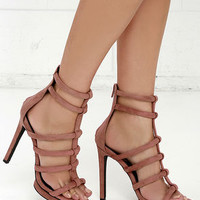 Privileged Lomora Pink Suede Leather Caged Heels