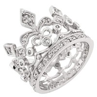 Cubic Zirconia Crown Eternity Ring JGI
