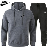 Nike new fashion hooded sweater casual men's two-piece sports suit