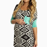 Mint Colorblock Sleeve Tribal Print Maternity Top