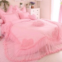 Dot and Heart Pattern Cotton and Lace Full Size Luxury 4-Piece Duvet Covers/Bedding Sets