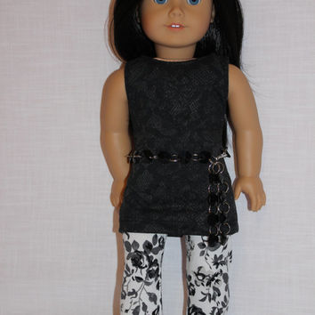 3 piece set! lace look  tank top, white floral leggings, black bead belt , 18 inch doll clothes, American girl, Maplelea
