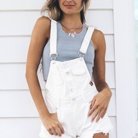 Far From Over White Denim Overalls