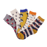 men and women socks Unisex Lovers Socks cartoon Bat Elephant Puppy Owl animal series creative Cotton socks