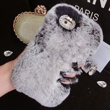 Bling Crystal Rhinestone Design Fashion Colour Fluffy Soft Genuine Rabbit Fur Handmade Winter Warm Case for iPhone 7 7Plus & iPhone 6s 6 Plus Gift