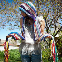 Custom made to order: Free-form Hippie Hooded Scarf