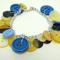 Blue and Yellow Vintage button bracelet - Blueberry and Lemon OOAK